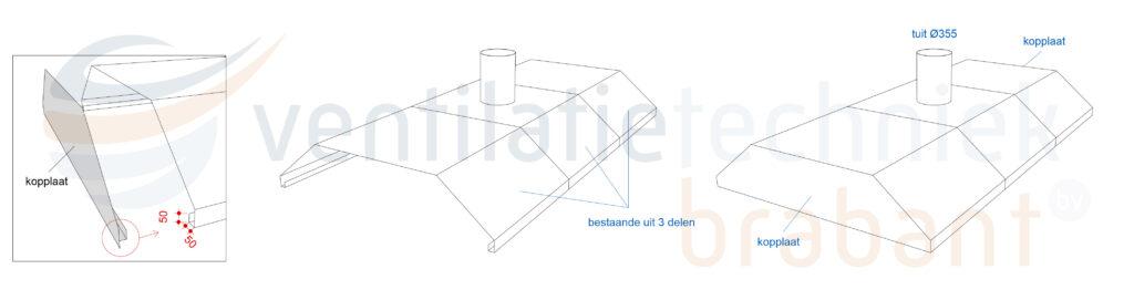Technische tekening afzuigkap, werkplaats afzuiging | Ventilatie Techniek Brabant